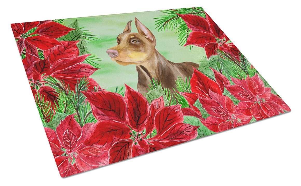 Buy this Doberman Pinscher Poinsettas Glass Cutting Board Large CK1357LCB