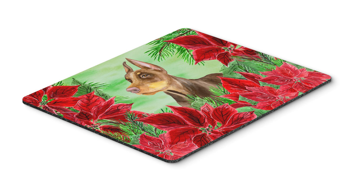 Buy this Doberman Pinscher Poinsettas Mouse Pad, Hot Pad or Trivet CK1357MP