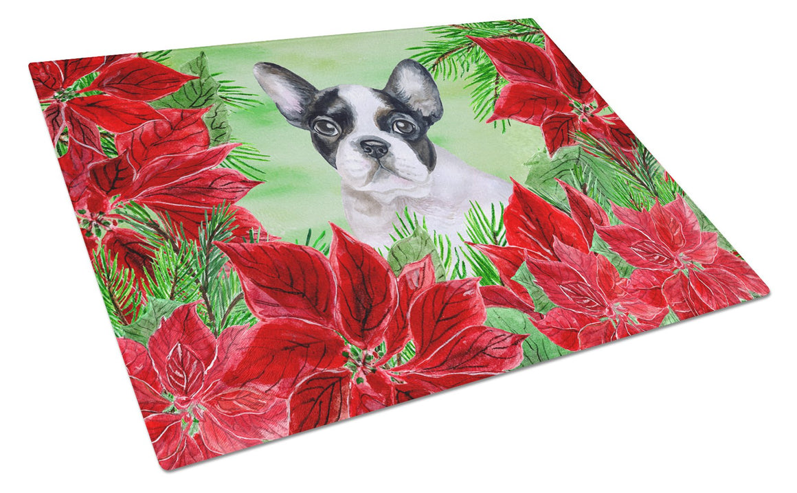 Buy this French Bulldog Black White Poinsettas Glass Cutting Board Large CK1358LCB