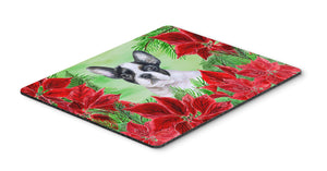 Buy this French Bulldog Black White Poinsettas Mouse Pad, Hot Pad or Trivet CK1358MP