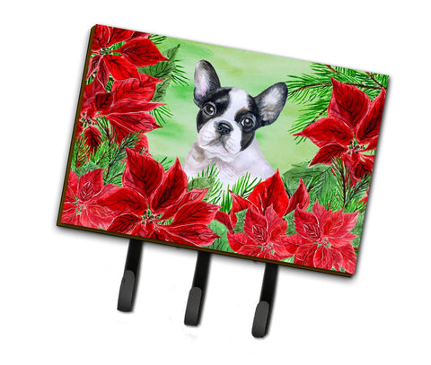 Buy this French Bulldog Black White Poinsettas Leash or Key Holder CK1358TH68