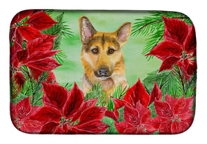 Buy this German Shepherd #2 Poinsettas Dish Drying Mat CK1359DDM