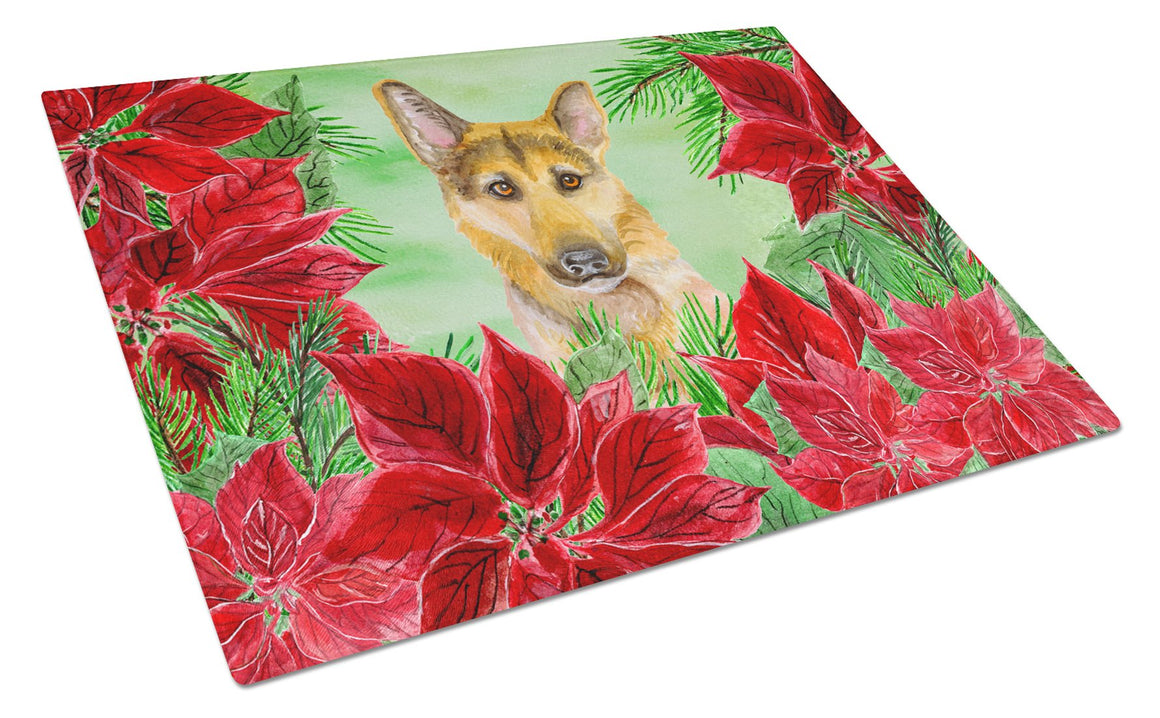 Buy this German Shepherd #2 Poinsettas Glass Cutting Board Large CK1359LCB