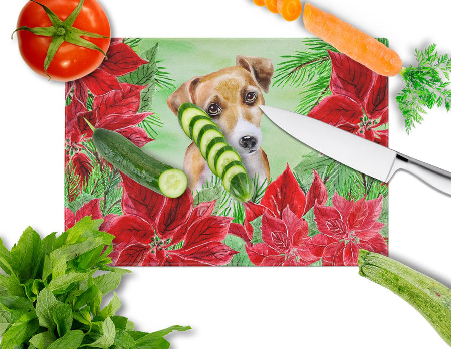 Buy this Jack Russell Terrier #2 Poinsettas Glass Cutting Board Large CK1360LCB