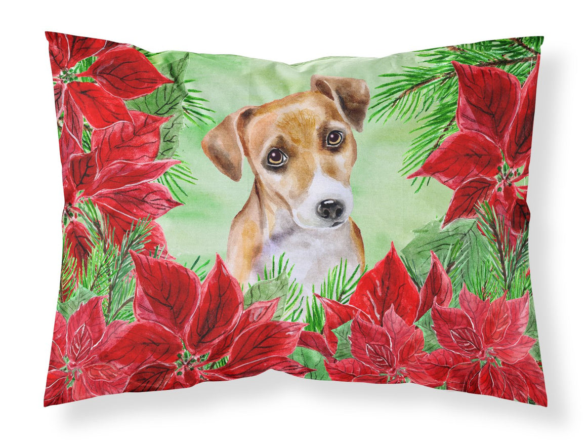 Buy this Jack Russell Terrier #2 Poinsettas Fabric Standard Pillowcase CK1360PILLOWCASE