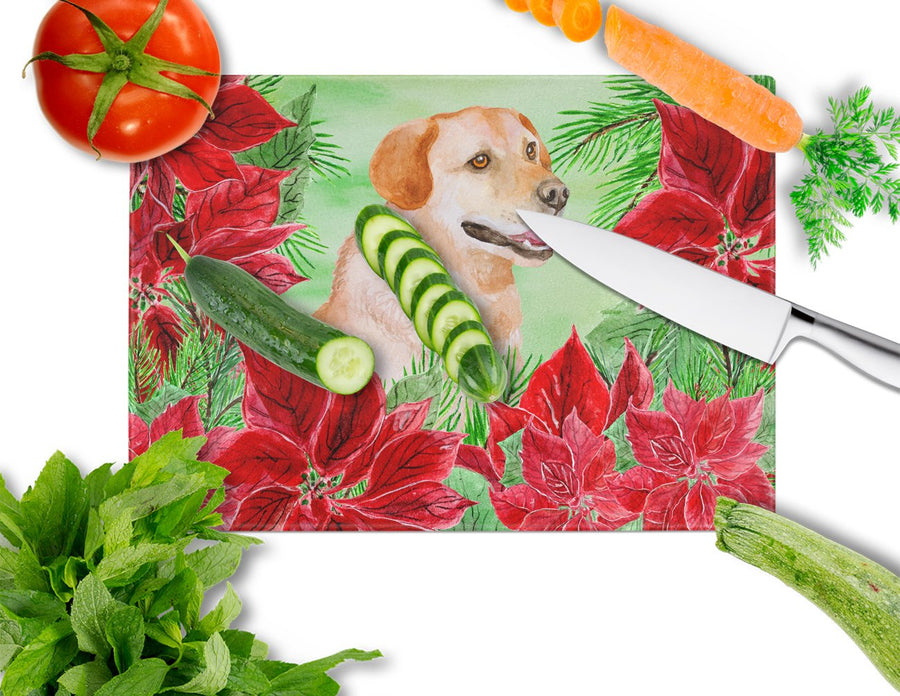 Buy this Labrador Retriever Poinsettas Glass Cutting Board Large CK1361LCB