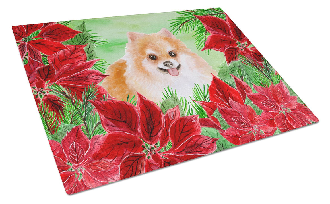 Buy this Pomeranian #2 Poinsettas Glass Cutting Board Large CK1363LCB