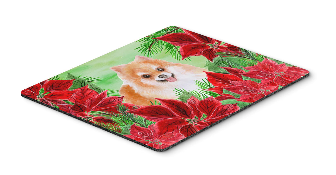 Buy this Pomeranian #2 Poinsettas Mouse Pad, Hot Pad or Trivet CK1363MP