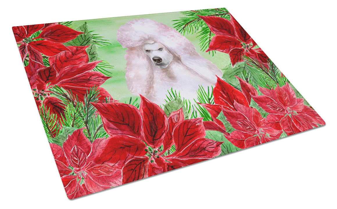 Buy this White Standard Poodle Poinsettas Glass Cutting Board Large CK1364LCB