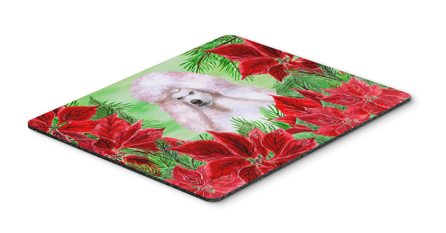 Buy this White Standard Poodle Poinsettas Mouse Pad, Hot Pad or Trivet CK1364MP