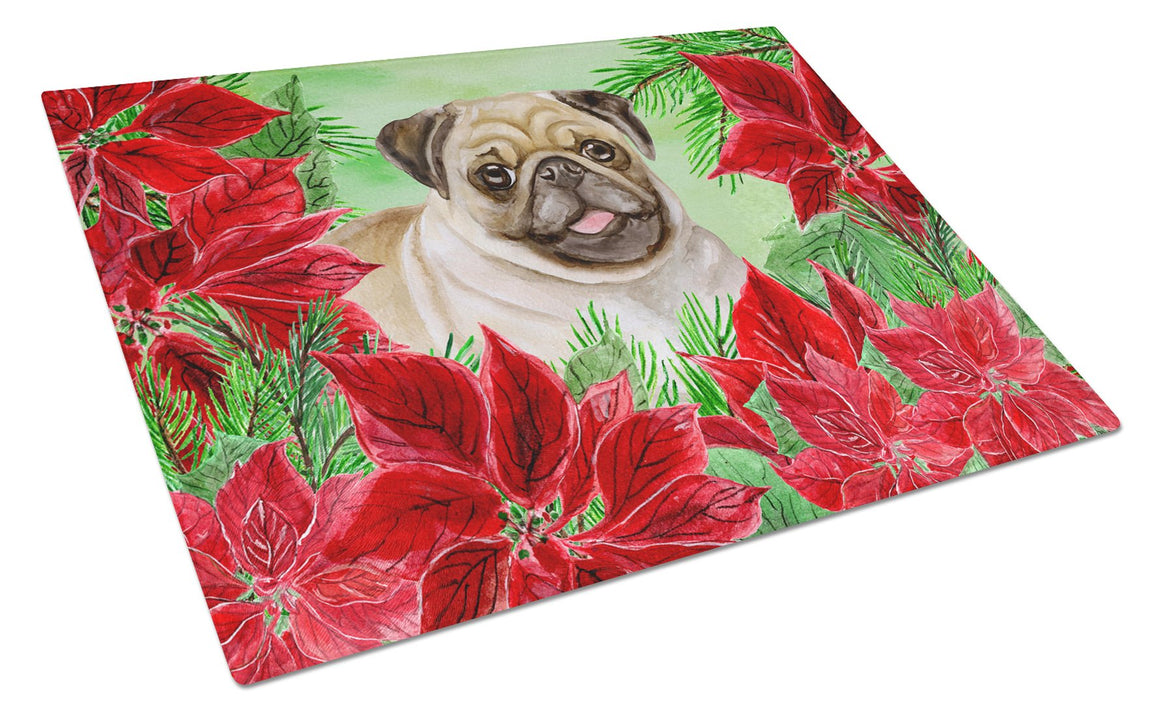 Buy this Fawn Pug Poinsettas Glass Cutting Board Large CK1365LCB
