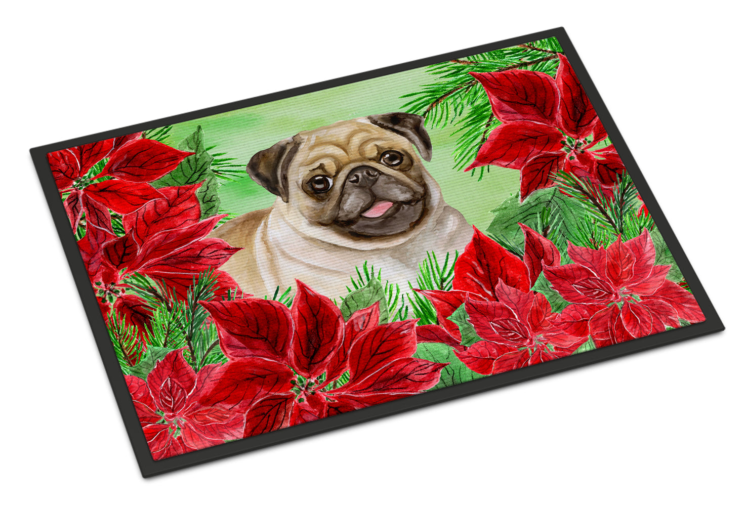 Fawn Pug Poinsettas Indoor or Outdoor Mat 18x27 CK1365MAT by Caroline's Treasures