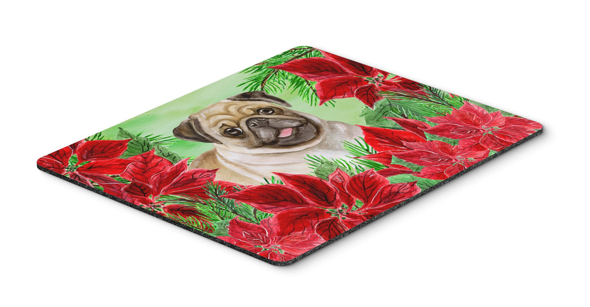Buy this Fawn Pug Poinsettas Mouse Pad, Hot Pad or Trivet CK1365MP