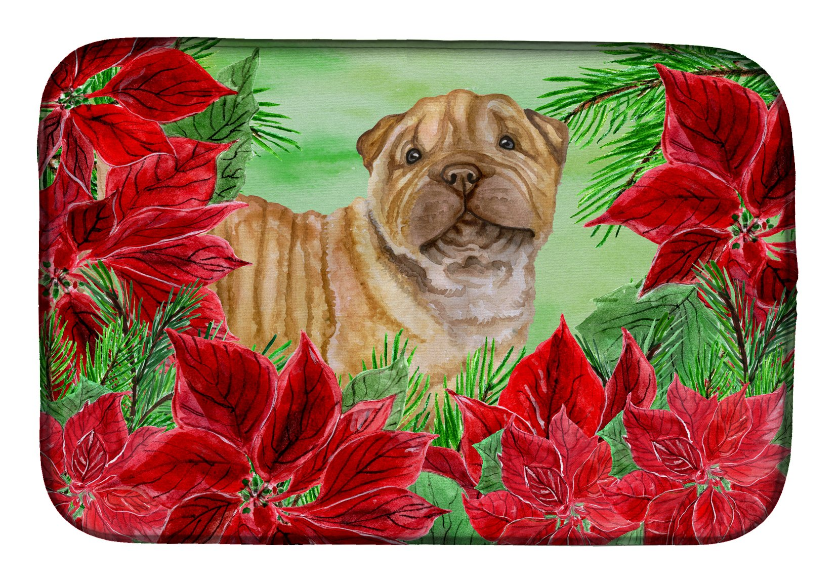Buy this Shar Pei Puppy Poinsettas Dish Drying Mat CK1366DDM