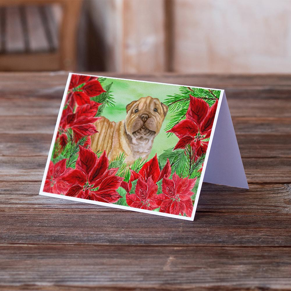 Buy this Shar Pei Puppy Poinsettas Greeting Cards and Envelopes Pack of 8