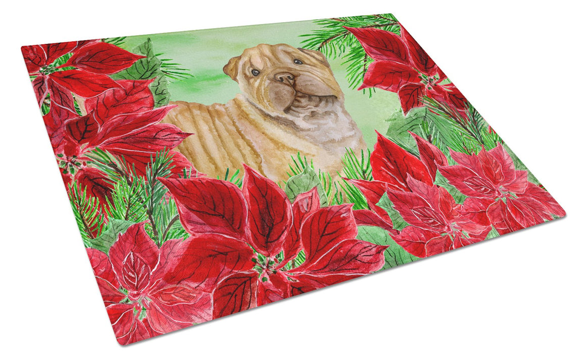 Buy this Shar Pei Puppy Poinsettas Glass Cutting Board Large CK1366LCB