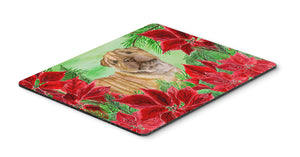 Buy this Shar Pei Puppy Poinsettas Mouse Pad, Hot Pad or Trivet CK1366MP
