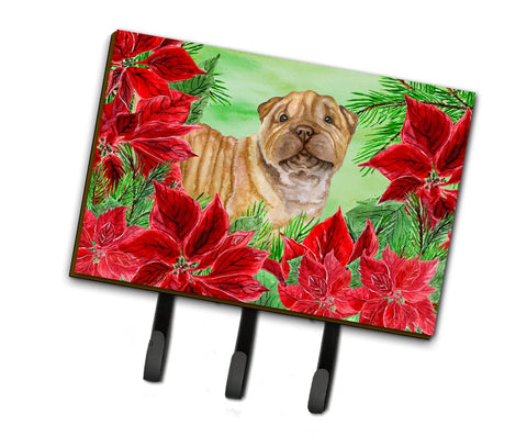 Buy this Shar Pei Puppy Poinsettas Leash or Key Holder CK1366TH68