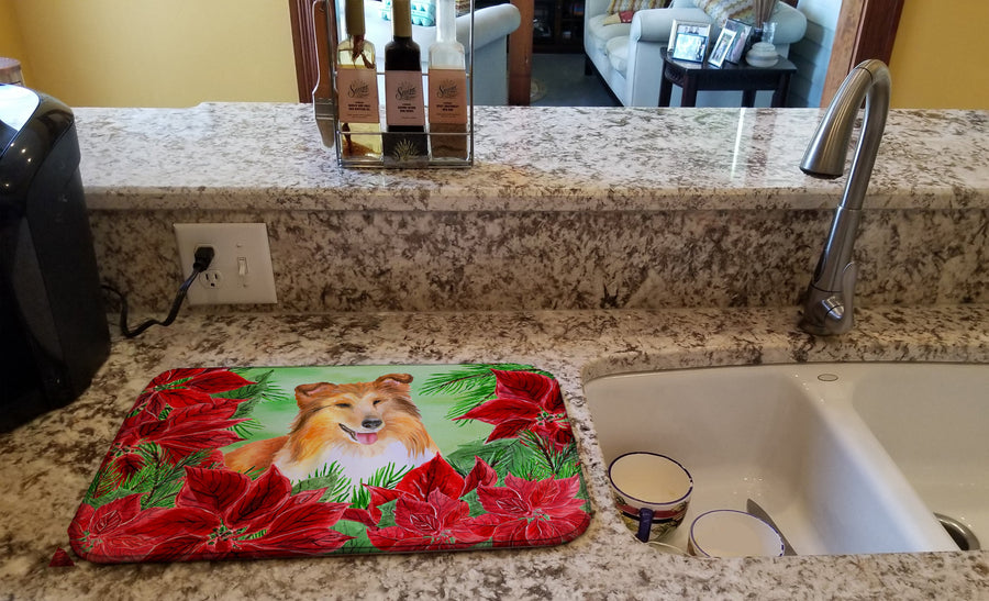Buy this Sheltie Poinsettas Dish Drying Mat CK1367DDM