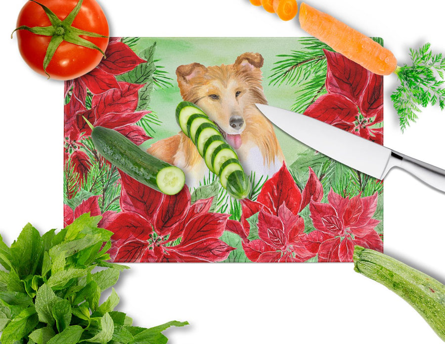 Buy this Sheltie Poinsettas Glass Cutting Board Large CK1367LCB