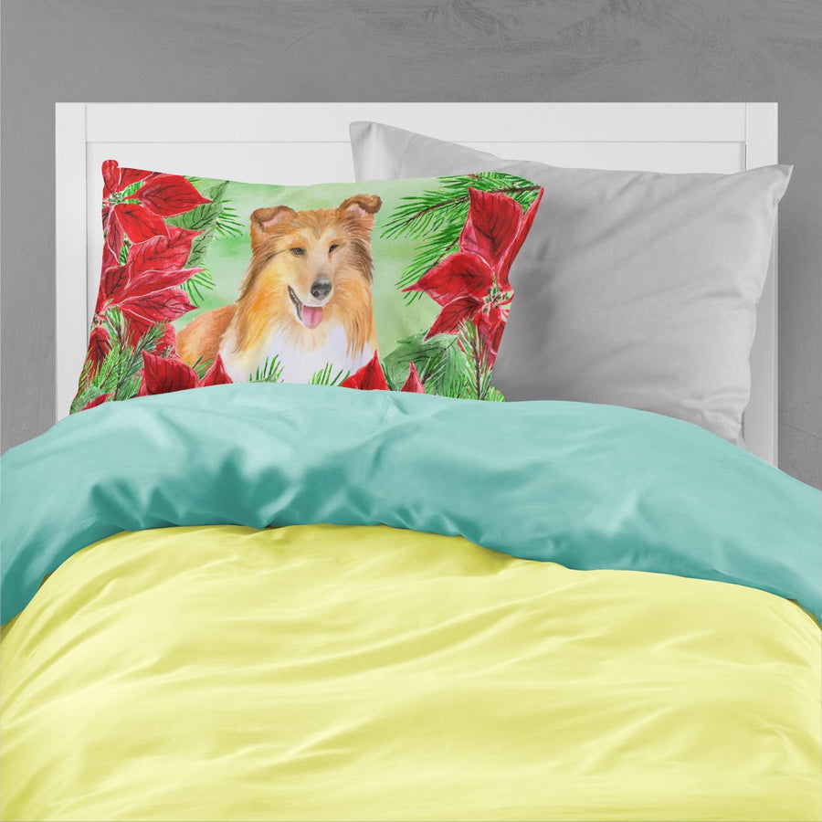 Buy this Sheltie Poinsettas Fabric Standard Pillowcase CK1367PILLOWCASE