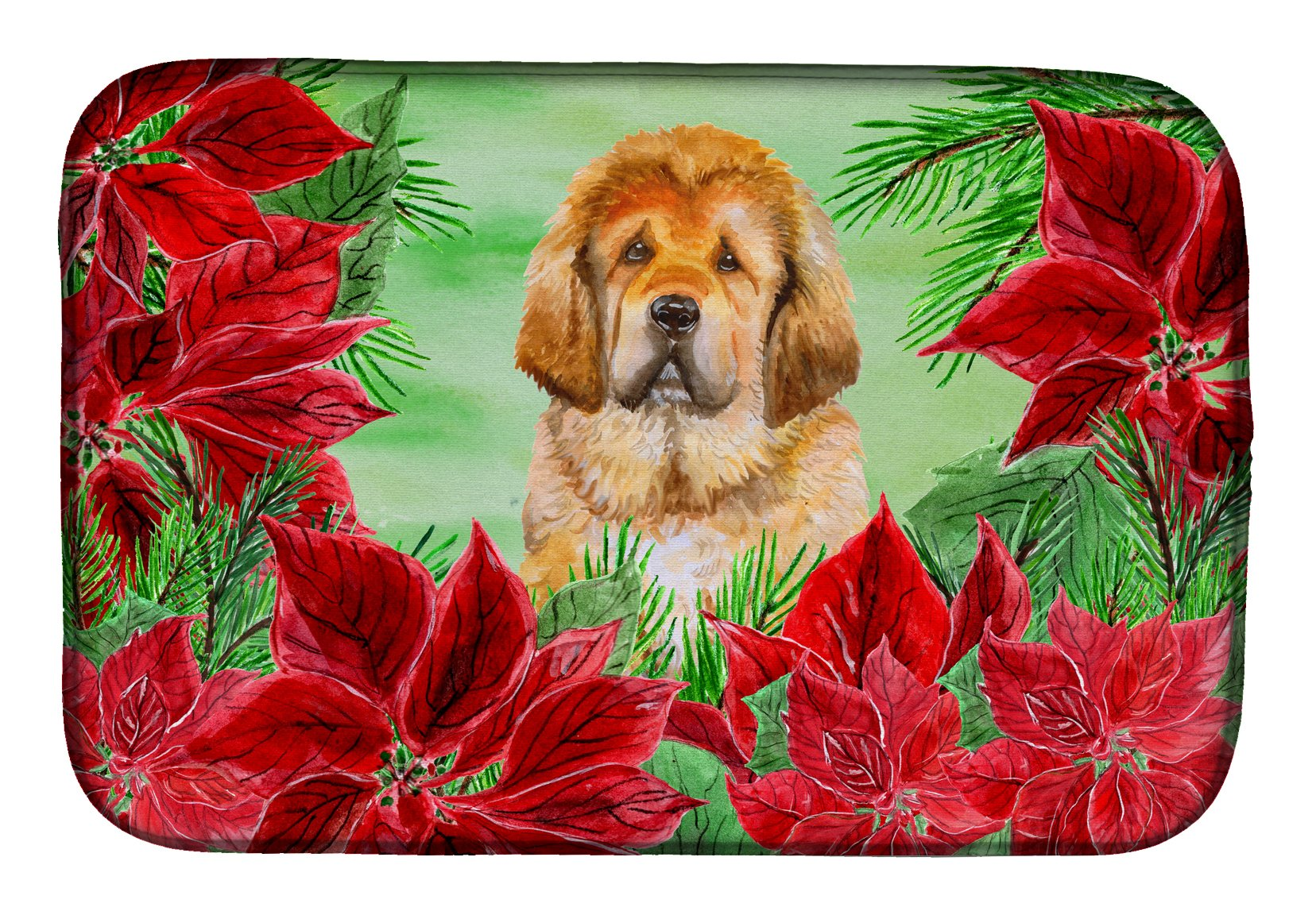Tibetan Mastiff Poinsettas Dish Drying Mat CK1368DDM by Caroline's Treasures