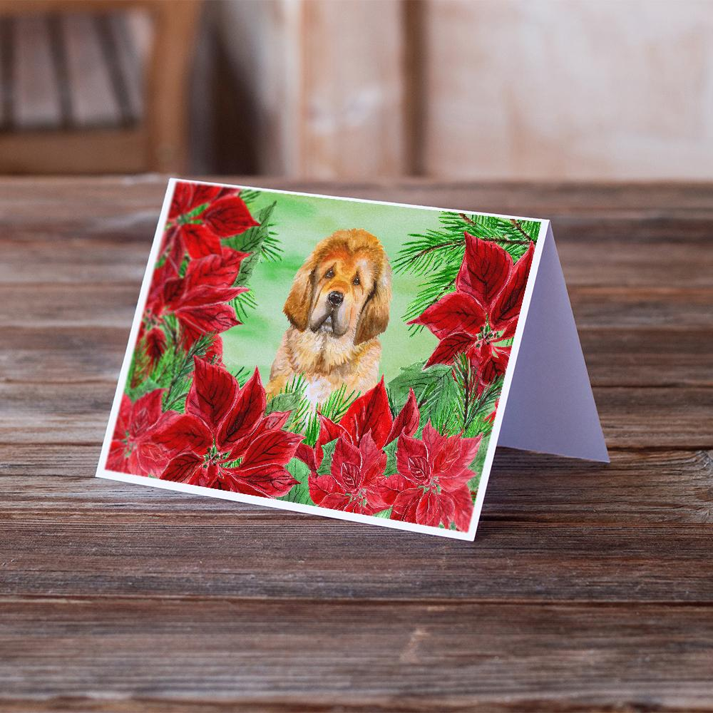 Buy this Tibetan Mastiff Poinsettas Greeting Cards and Envelopes Pack of 8