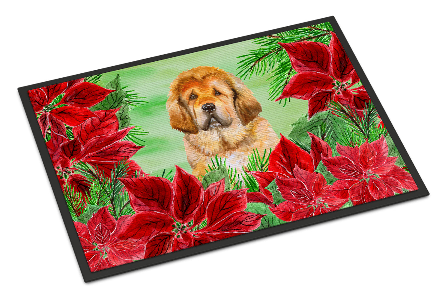 Tibetan Mastiff Poinsettas Indoor or Outdoor Mat 18x27 CK1368MAT by Caroline's Treasures