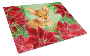 Buy this Toy Terrier Poinsettas Glass Cutting Board Large CK1369LCB