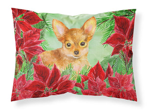 Buy this Toy Terrier Poinsettas Fabric Standard Pillowcase CK1369PILLOWCASE