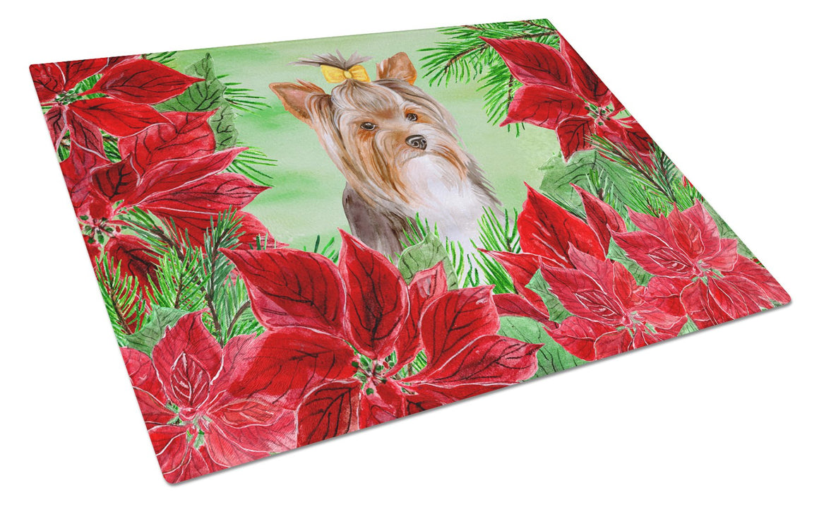 Buy this Yorkshire Terrier #2 Poinsettas Glass Cutting Board Large CK1370LCB
