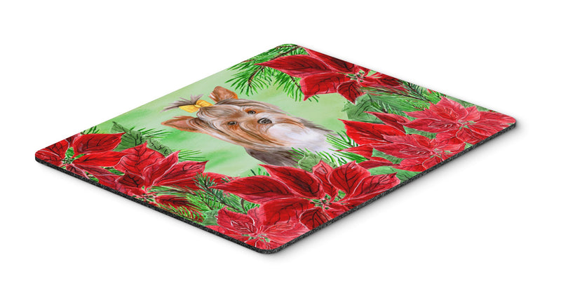 Buy this Yorkshire Terrier #2 Poinsettas Mouse Pad, Hot Pad or Trivet CK1370MP