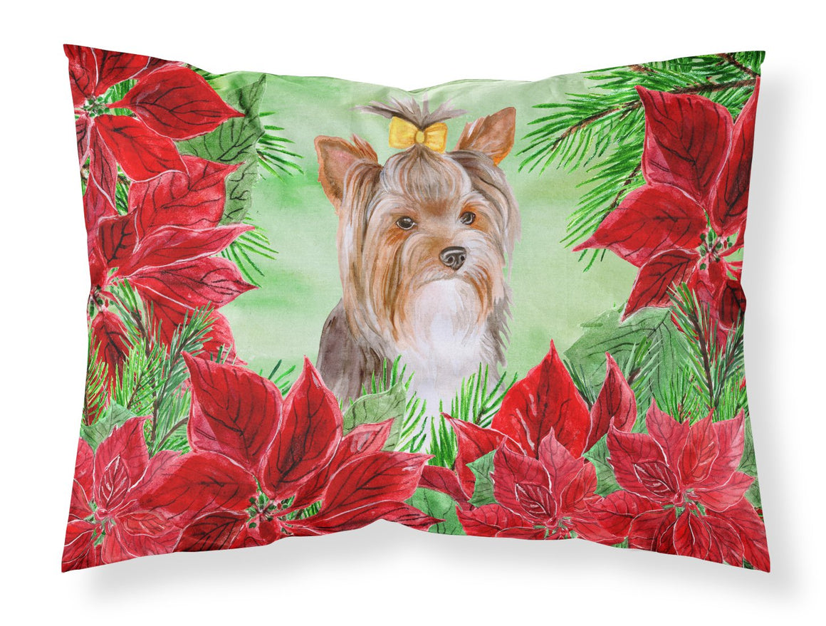 Buy this Yorkshire Terrier #2 Poinsettas Fabric Standard Pillowcase CK1370PILLOWCASE