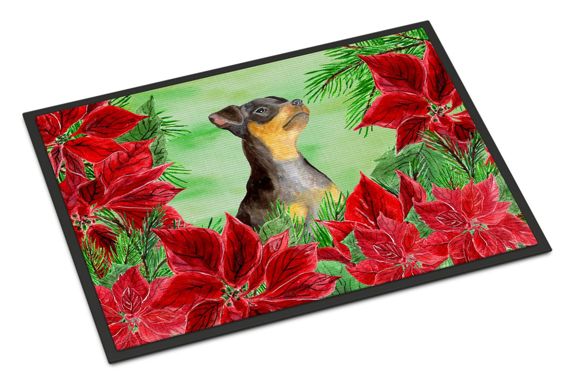 Buy this Miniature Pinscher #2 Poinsettas Indoor or Outdoor Mat 24x36 CK1371JMAT