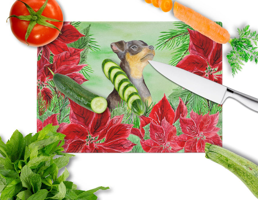 Buy this Miniature Pinscher #2 Poinsettas Glass Cutting Board Large CK1371LCB