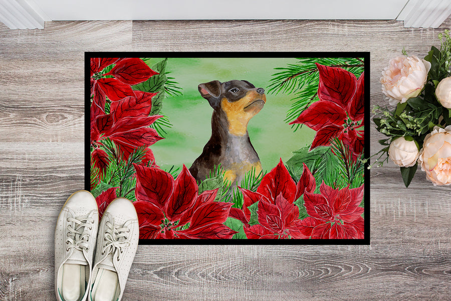 Buy this Miniature Pinscher #2 Poinsettas Indoor or Outdoor Mat 18x27 CK1371MAT