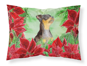Buy this Miniature Pinscher #2 Poinsettas Fabric Standard Pillowcase CK1371PILLOWCASE