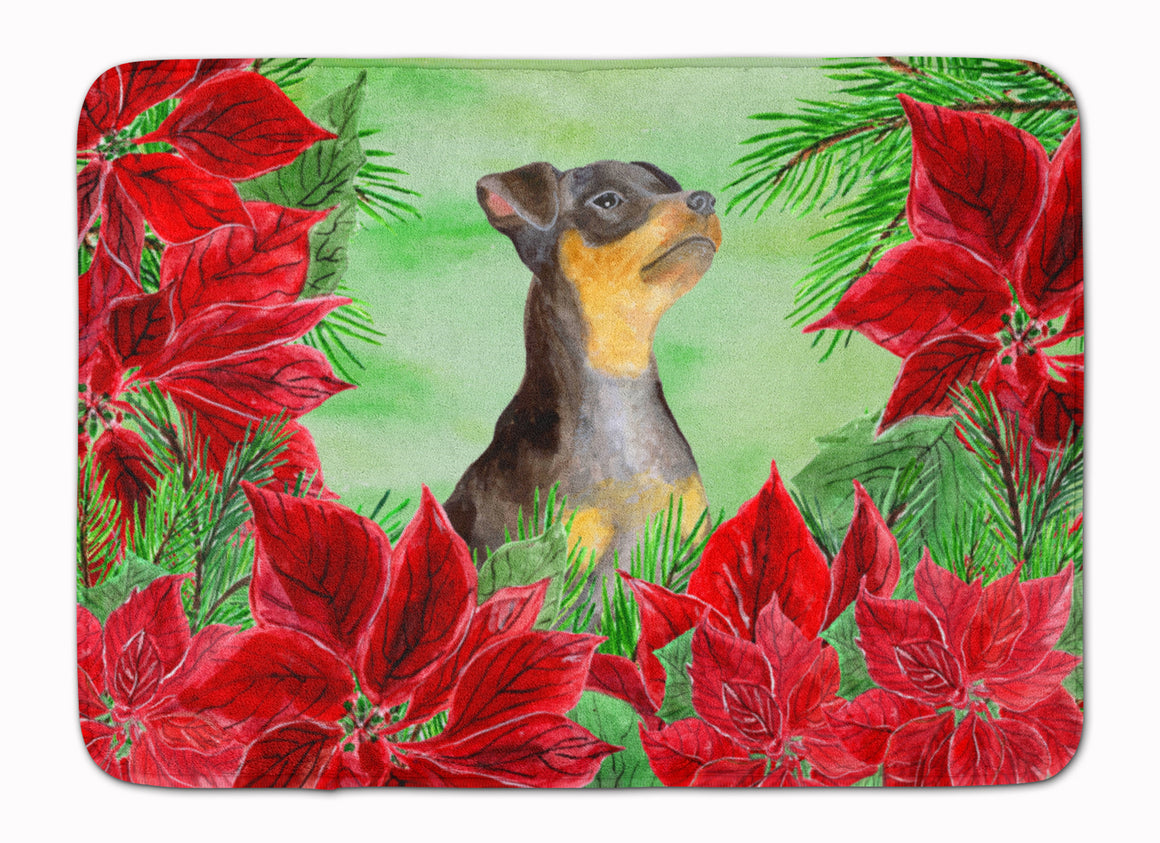 Buy this Miniature Pinscher #2 Poinsettas Machine Washable Memory Foam Mat CK1371RUG