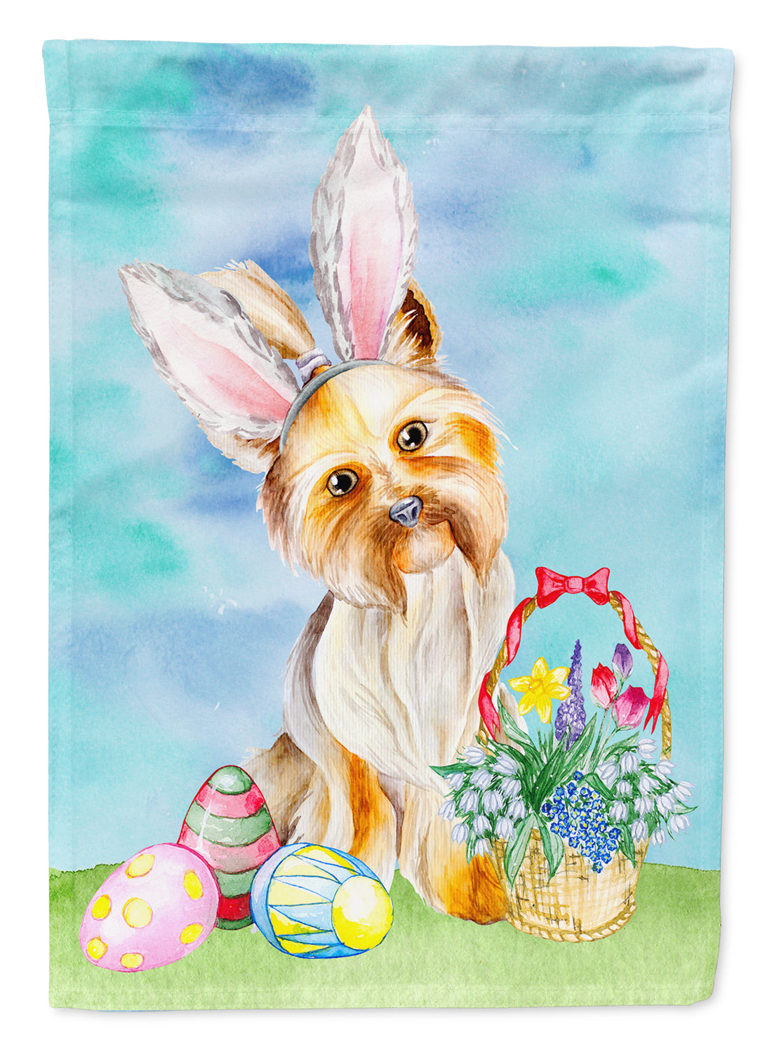Yorkie Easter Bunny Flag Canvas House Size CK1372CHF by Caroline's Treasures