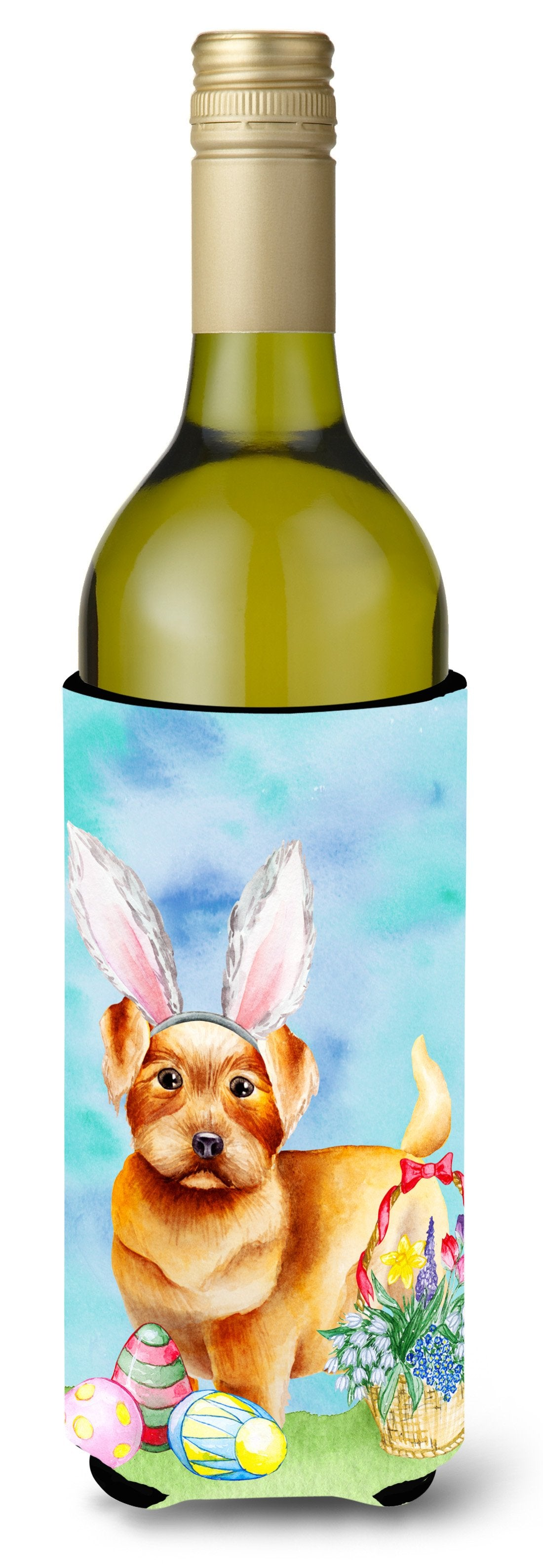 Buy this Norfolk Terrier Easter Bunny Wine Bottle Beverge Insulator Hugger CK1376LITERK