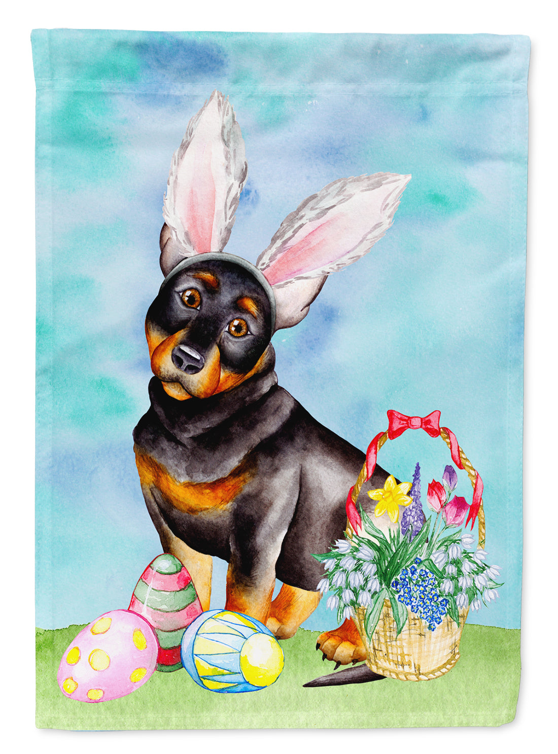 Lancashire Heeler Easter Bunny Flag Canvas House Size CK1377CHF by Caroline's Treasures