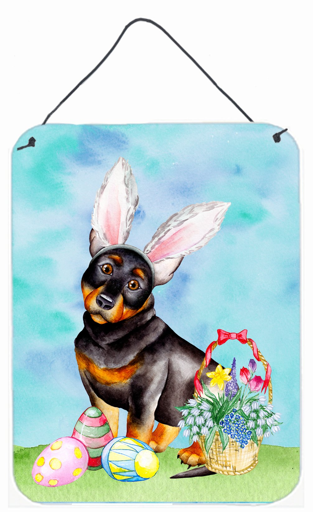 Lancashire Heeler Easter Bunny Wall or Door Hanging Prints CK1377DS1216 by Caroline's Treasures