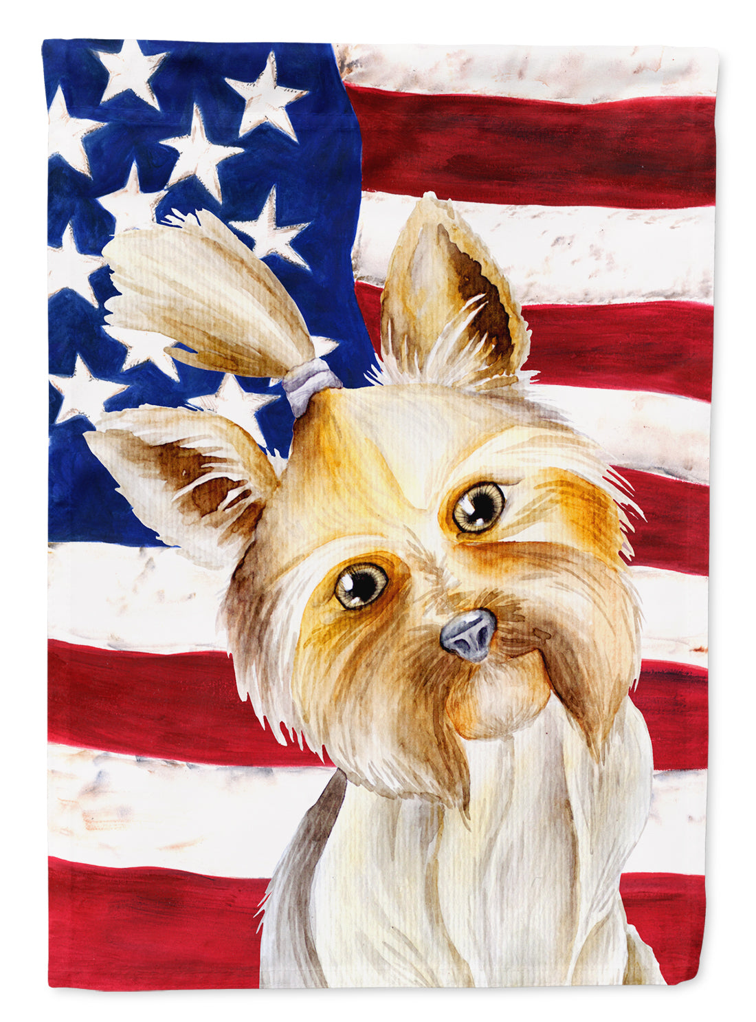 Yorkie Yorkshier Terrier Patriotic Flag Canvas House Size CK1382CHF by Caroline's Treasures