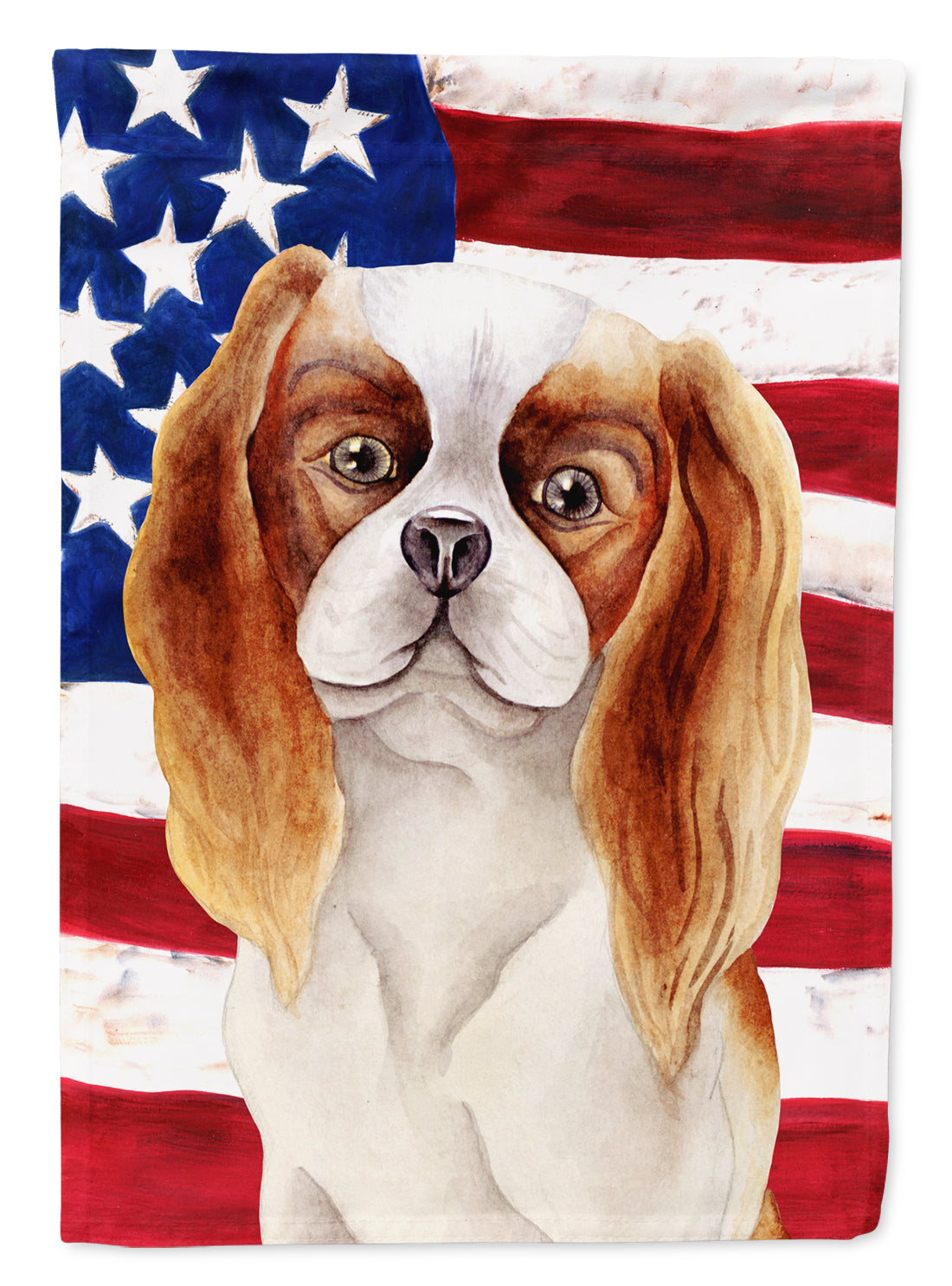 Buy this Cavalier Spaniel Patriotic Flag Canvas House Size CK1384CHF