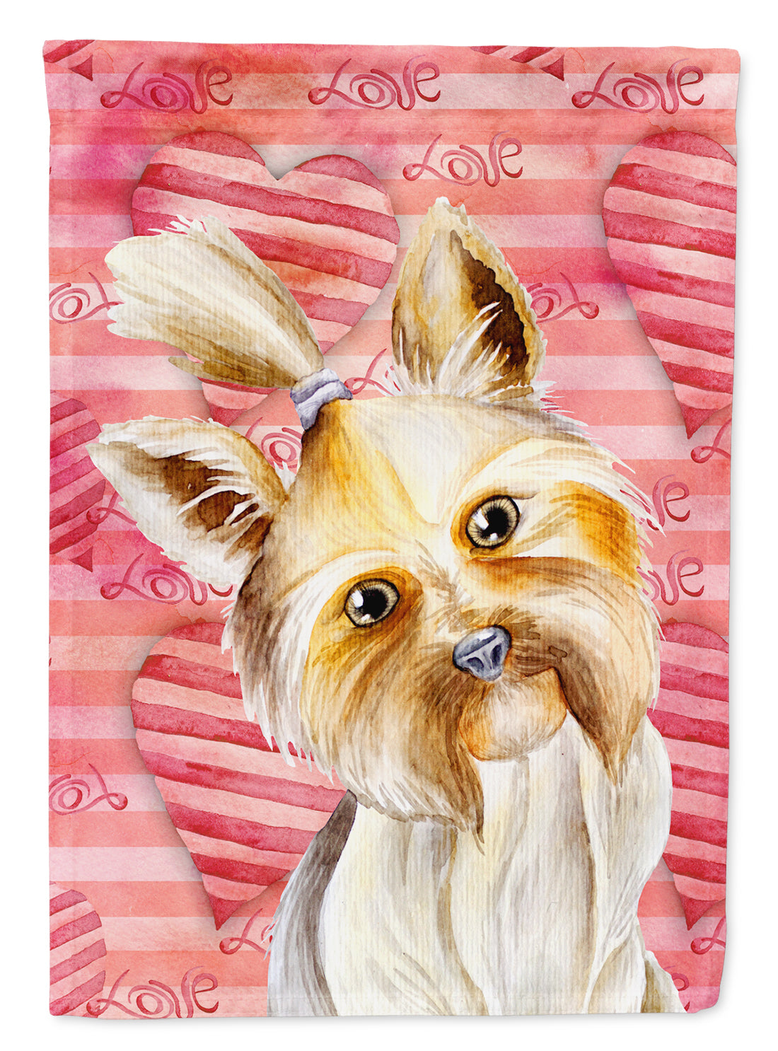 Yorkie Yorkshier Terrier Love Flag Canvas House Size CK1389CHF by Caroline's Treasures