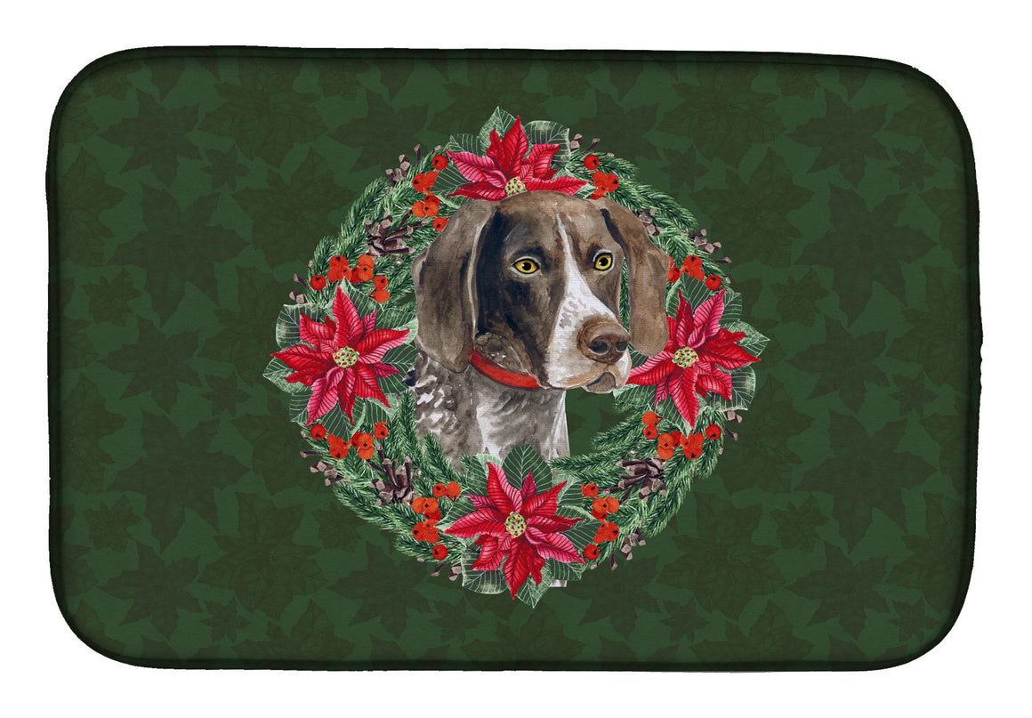 Buy this German Shorthaired Pointer Poinsetta Wreath Dish Drying Mat CK1507DDM
