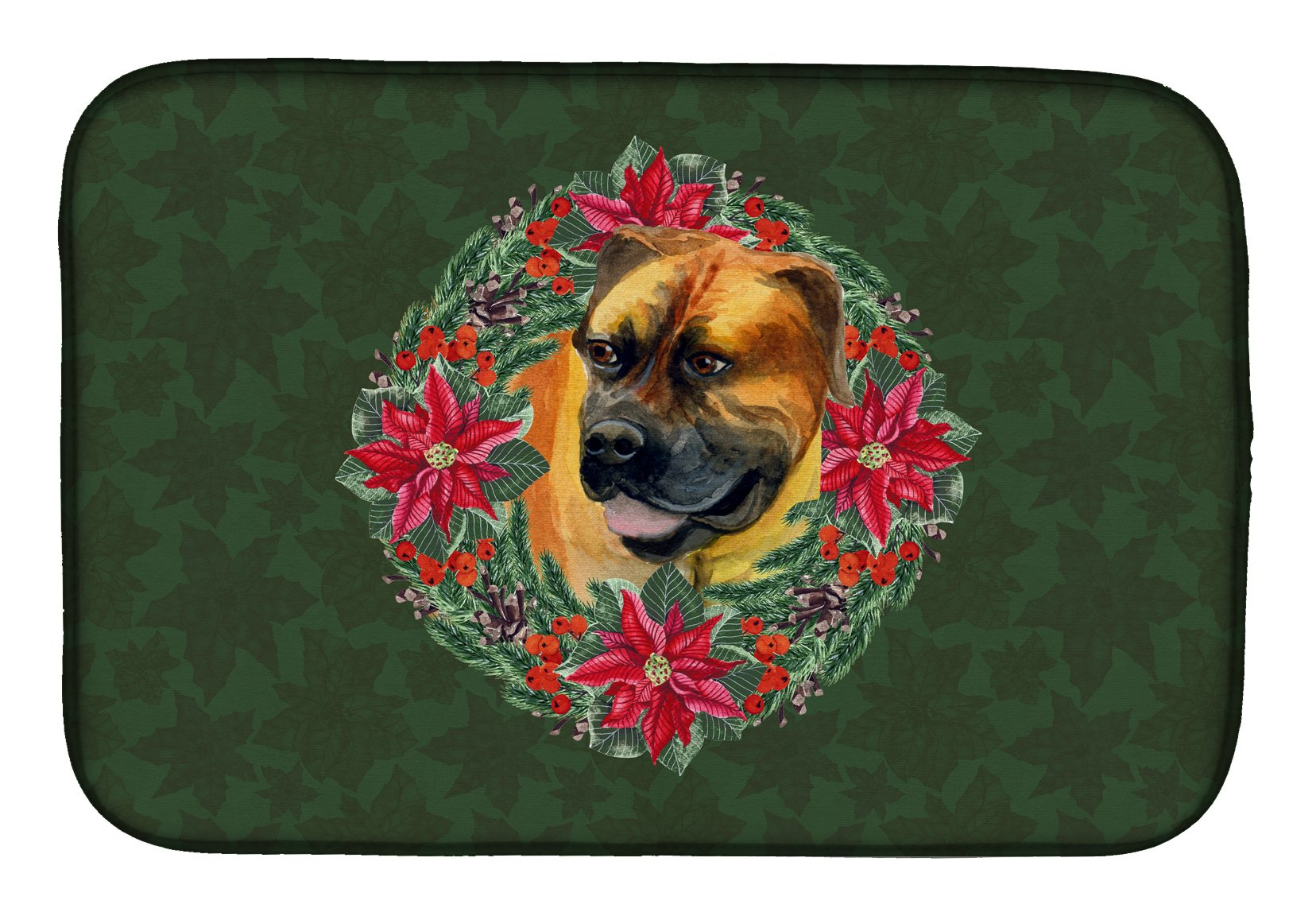 Boerboel Mastiff Poinsetta Wreath Dish Drying Mat CK1512DDM by Caroline's Treasures