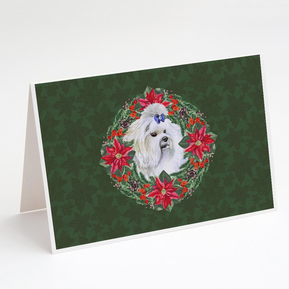 Buy this Maltese Poinsetta Wreath Greeting Cards and Envelopes Pack of 8