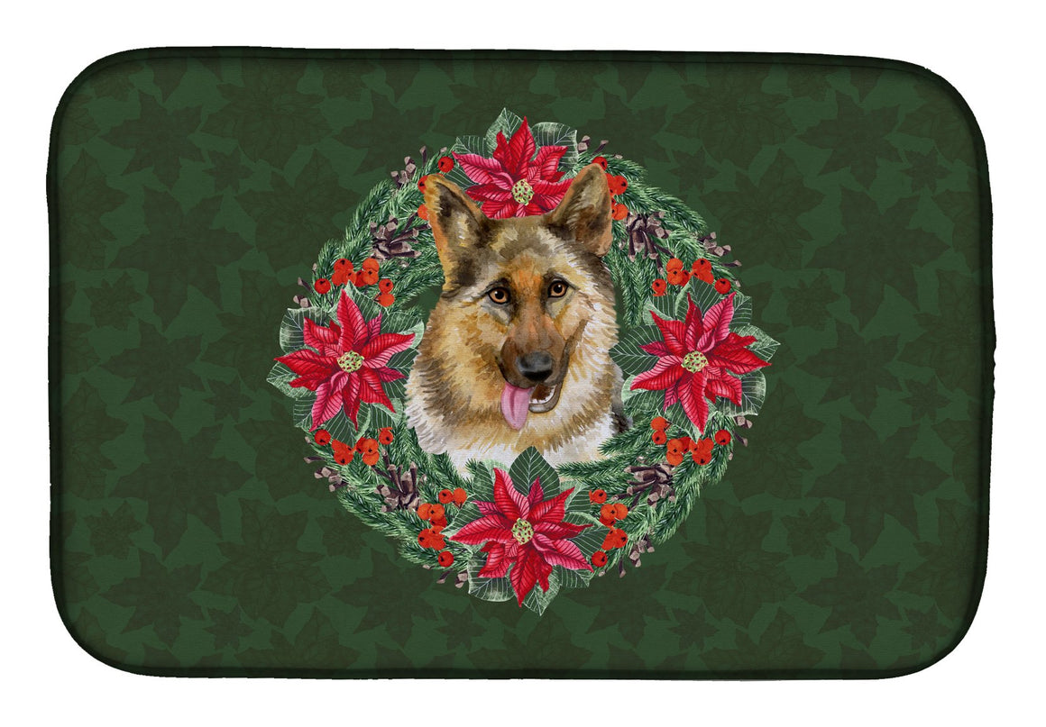 Buy this German Shepherd Poinsetta Wreath Dish Drying Mat CK1520DDM