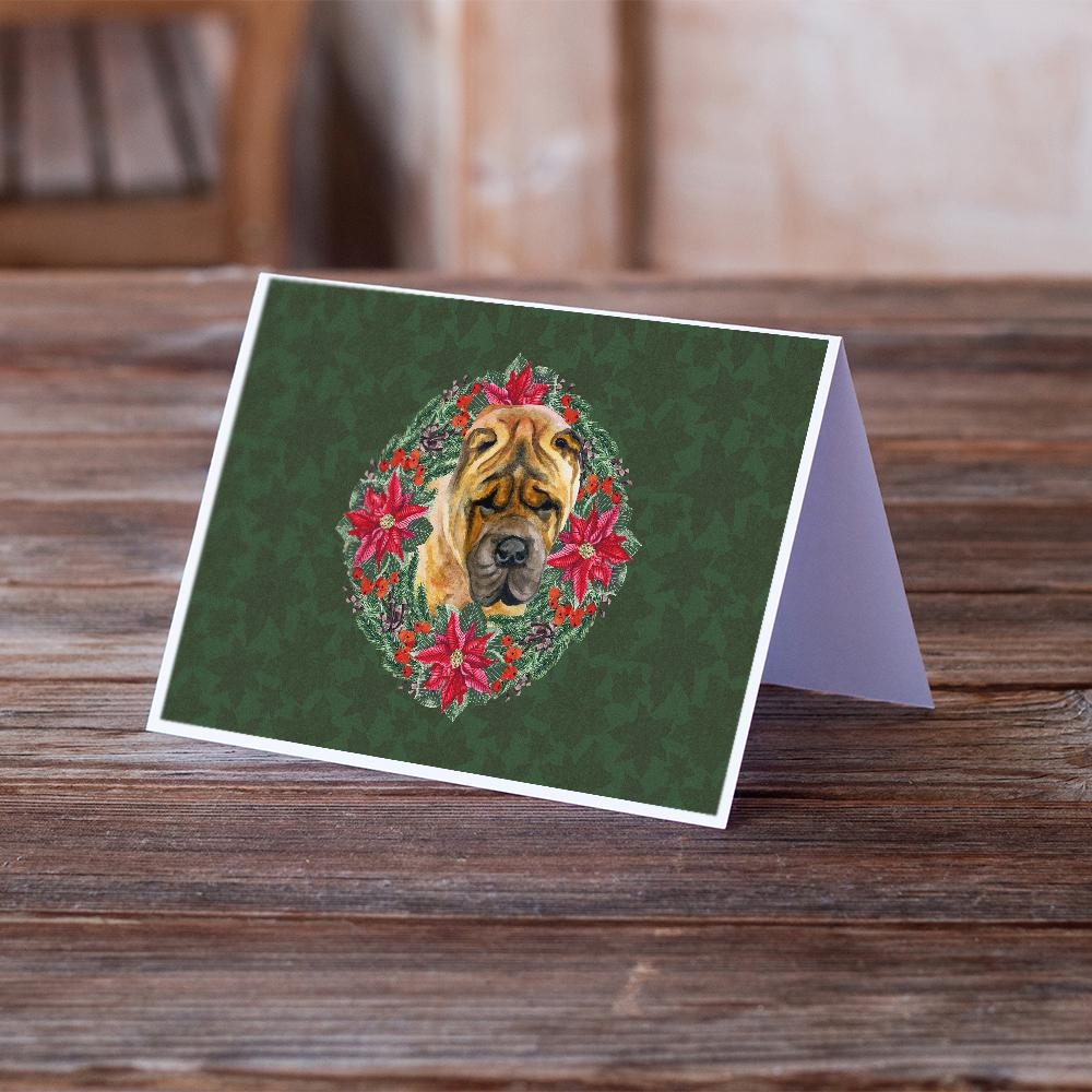 Buy this Shar Pei Poinsetta Wreath Greeting Cards and Envelopes Pack of 8